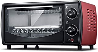 Mini horno eléctrico compacto, mini horno y parrilla con placas dobles, mini horno con parrilla eléctrica, mini horno doméstico, temporización de rotación de 30 minutos, capacidad de 12 litros, negro