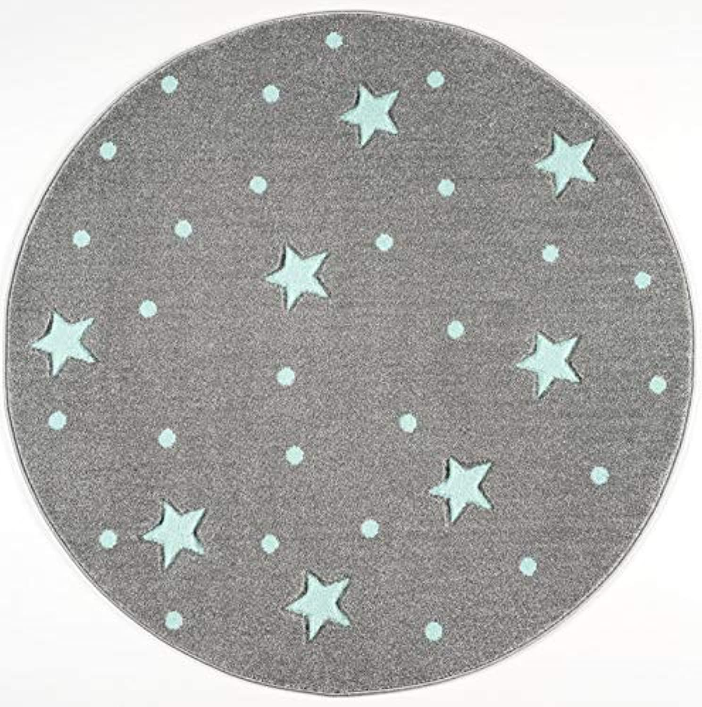 Livone Kinderzimmer Baby Teppich Kinderteppich Punkte Sterne Silber grau Mint 160 cm rund