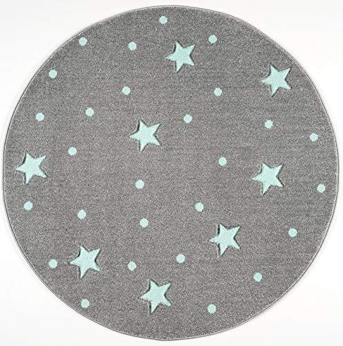 Livone Kinderzimmer Baby Teppich Kinderteppich Punkte Sterne Silber grau Mint 133 cm rund
