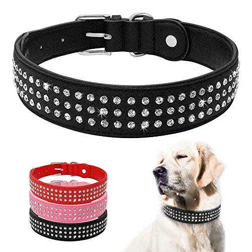 Beirui Strass gepolsterte Hundehalsbänder – Bling Weiches PU-Leder Pet Halsbänder – Diamanten Nieten für mittelgroße und große Hunde