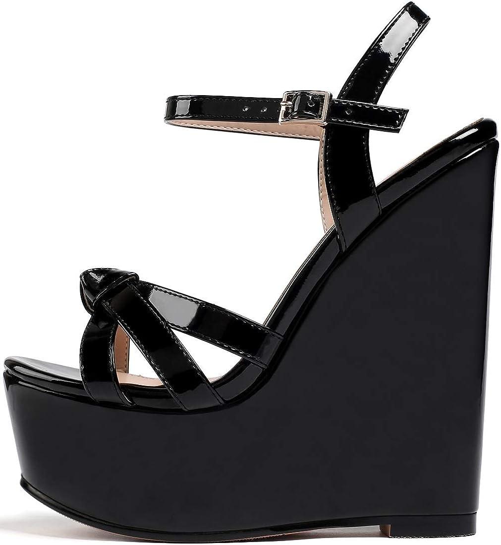 YODEKS High Heels Sandals for Women Platform Luxury half goods O Wedge Heel Wooden