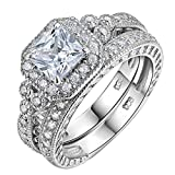 Newshe Women Wedding Engagement Ring Set 925 Sterling Silver Vintage Princess White AAA Cz Size 7