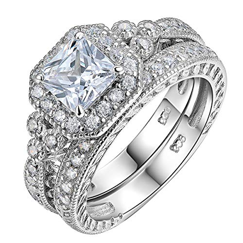 Newshe Women Wedding Engagement Ring Set 925 Sterling Silver Vintage Princess White AAA Cz Size 9