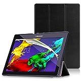 MoKo Lenovo Tab 2 A10 / TAB-X103F Tab 10 Case 3-Fold Stand Smart Cover Case for Lenovo Tab2 A10-70 / TAB-X103F Tab 10 / Tab3 10 Business Tablet, Black