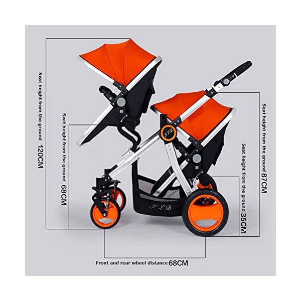 JXCC Double Strollers Baby Pram Tandem Buggy Newborn Pushchair Ultra Light Folding Child Shock Absorber Trolley Can Sit Half Lying 0-3 years old,50kg maximum -Safe And Stylish Red JXCC 1. {Four seasons can be} - The awning can be adjusted to multiple angles to easily cope with the sun 2.{sleeping basket multi-angle, two-way adjustable}: The sleeping basket can be adjusted from 0 to 175 degrees. The baby can sit in the mother's arms, can lie flat, can face the mother, or can face the scenery, suitable for all occasions. To meet the needs of 0-3 years old baby. 3. {Multiple shock absorption design} - Frame spring shockproof, rear wheel, two wheel brakes, wheel spring shockproof, baby safety 5