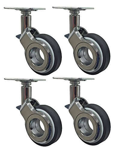 Headbourne 8282e Designer Rollen 2–3/20,3cm Polyurethan hub-free chrom & Schwarz Designer Caster, 4Stück