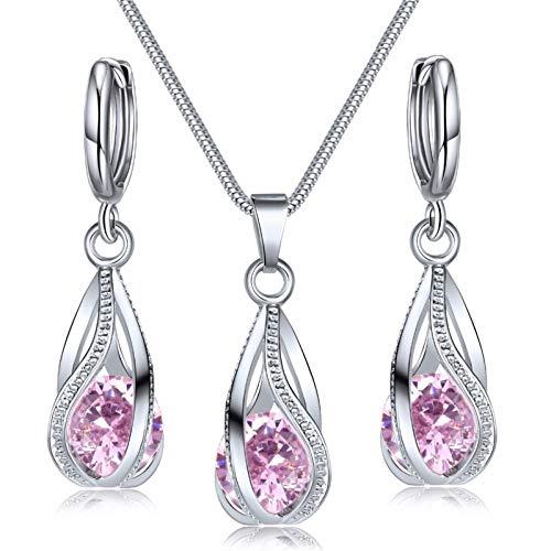 Juego de joyas de cristal Pendientes de collar de zircon Decoración (Metal color : 3)
