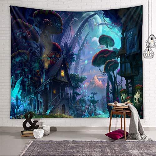 Zodight Tapiz de Pared Psicodélico, Tapices de la Casa de Setas Tapiz Abstracto Hippie Tapiz de Cuento de Hadas, Tapestry Decoración de Pared para Dormitorio Sala de Estar