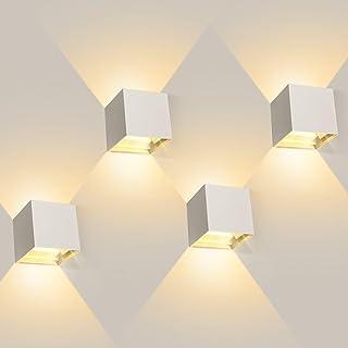 4 Pcs 12W Aplique pared LED Blanco Cálido 3000K 1000lm Lampara de pared Interior/Exterior Impermeable IP65 Ángulo ajustable Lámpara Pared Blanco