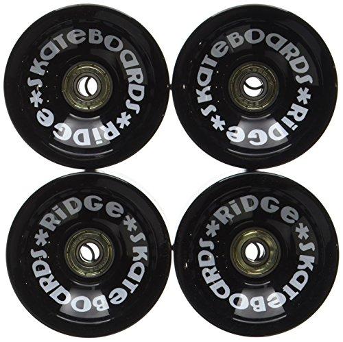 Ridge Skateboards 70mm Longboard Wheels Ruote per Skateboard, Nero