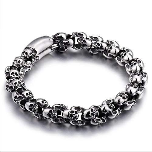 DECJ Taro Titan Stahl Armband, Manschette Armband für Männer mit Totenköpfen, Edelstahl Herren Motorrad Armband,B,22.5cm