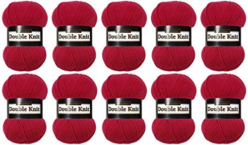 Marriner Double Knit 100g | DK Knitting/Crochet Yarn | 100% Acrylic (Berry, 10 Ball Pack)