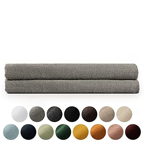 Blumtal 2er Set Saunahandtuch 80x200cm - Handtücher Set, weich und saugstark, 100% Baumwolle, Oeko-Tex 100 Zertifiziert, Grau