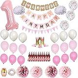 Globos de fiesta de bebé, 1er cumpleaños, decoración de papel de aluminio, número de pancartas para primera fiesta de bebé para niña, cumpleaños, baby shower, decoración de boda