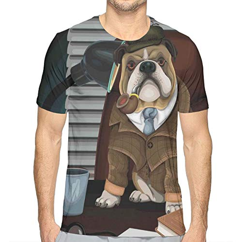 3D Printed T Shirts,Traditional English Detective Dog with A Pipe and Hat Sherlock Holmes Image XXL