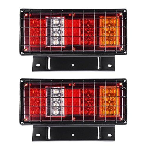 HEHEMM 32 LED Rücklicht Bremse Bremslicht Rückfahrlicht Multifunktionale Kontrollleuchte LKW Rücklicht mit Eisennetz 24V (2 Stück)