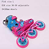 STBB Patins à roulettes Child Size Adjustable Speed Inline Skates Street Roller Skating Chaussures Taille Rose L DE l'UE 36-39