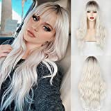MERISIHAIR Ombre Synthetic Wig with Bangs, Long Wavy Wig for Women,Platinum Blonde Wig Dark Roots 24 inch(Platinum Blonde)