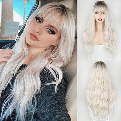 MERISIHAIR Ombre Synthetic Wig with Bangs, Long Wavy Wig for White Women, Platinum Blonde Wig Dark Roots 24 Inches