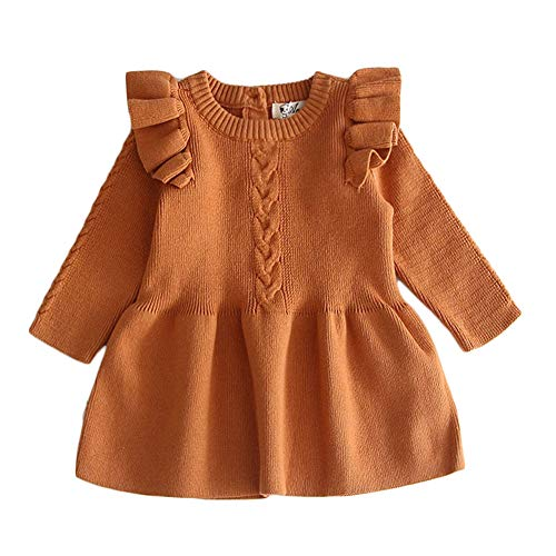 mlpeerw Toddler Baby Girl Knitted Dresses Kids Solid Ruffle Long Sleeve One Piece Dress Fall Winter Warm Sweater Outfits (Yellow,3-6 Months)