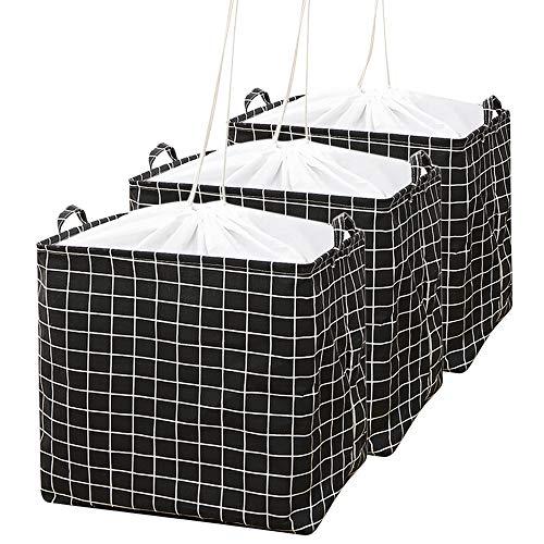 AYADA 100L Kleidung Aufbewahrungstasche Groß 3 Stück, Faltbare Kleideraufbewahrung mit Bündel und Seil Binden Unterbett Baumwolle Aufbewahrungsbeutel,Aufbewahrungsboxen für Bettdecken Kissen(Schwarz)