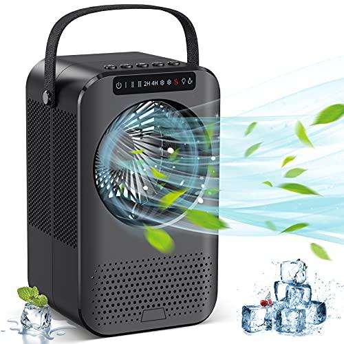 Ventilador portátil de aire acondicionado, mini refrigerador de aire personal, ventilador de refrigeración por hielo evaporativo con...