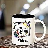 Shandaar Feliz cumpleaños Sidra Interior Negro de cerámica Taza de café, 350 ml, 1-Pieza, Multicolor FZC # 205