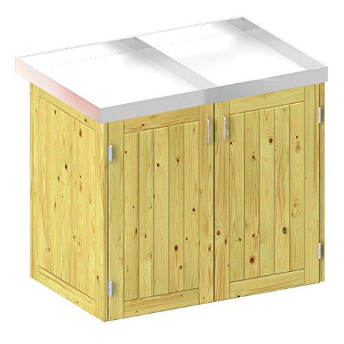 BINTO Holz Mülltonnenbox System 2P - für zwei Mülltonnen inkl. Pflanzschalen - 5107