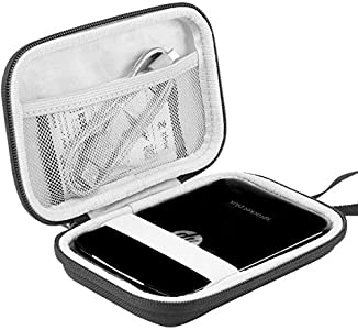 Khanka EVA Duro Caso Recorrido Bolso Funda Estuche Case para HP Sprocket Plus/HP Sprocket Select Impresora Fotográfica Portátil (Blanco/Negro)
