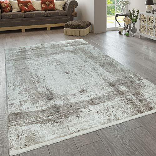 grigio Tappeto moderno con design patchwork Polipropilene grau 60 x 100 cm crema per soggiorno