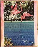 Flamingo Poster Original Vintage Blacklight Poster Flamingo 3D Illusion Pop Out Art Abstract 90s