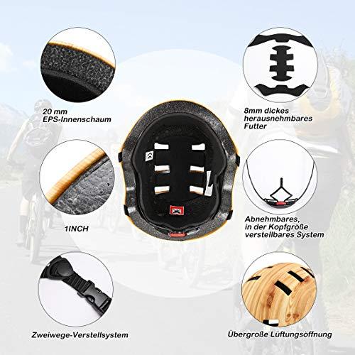 Vihir Erwachsene Fahrradhelm Skaterhelm E-Scooter E-Roller BMX Fahradhelm Herren Damen Sport Helm für Männer & Frauen Schwarz Weiß Dunkelgrau (L/XL 56-62CM, Holzmaserung) - 5