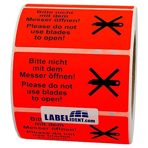 Labelident Warnetiketten auf Rolle 100 x 50 mm - Bitte nicht mit dem Messer öffnen! - 1000 Versandaufkleber auf 1 Rolle(n), 3 Zoll Kern, Papier selbstklebend, leuchtrot