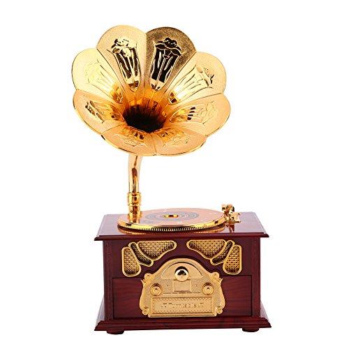 Hilitand Caja de música, Forma de fonógrafo Retro Caja de música Regalo Clásico Trompeta de Oro Cuerno Artes Creativas(Marrón)