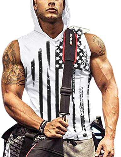 Men's White Hooded Workout Tank Top Summer Workout Clothes Black Flag L