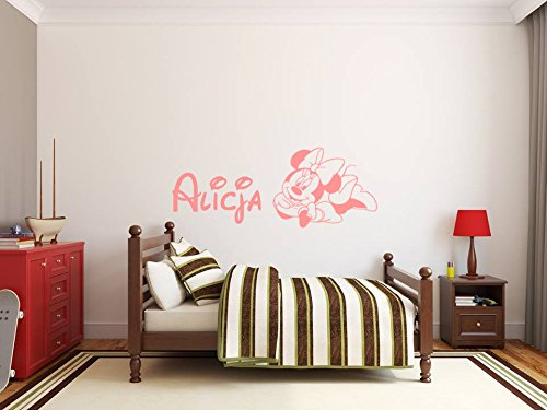 Minnie Mouse Personalized Sticker Vinilos decorativos. Adhesivo de pared personalizado nombre del niño y Minnie Mouse. Etiqueta de la pared con el nombre de un niño y Minnie