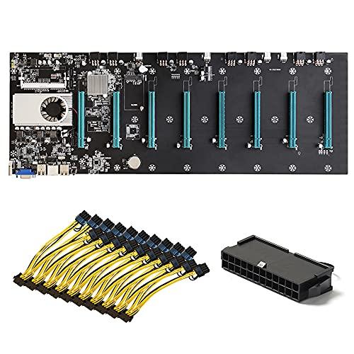RUMUI BTC-S37 Mining Machine Motherboard CPU Set 8 Ranuras para Tarjeta gráfica + Adaptador de Corriente de 24 Pines + Cable de alimentación PCI Express de 8 Pines a PCIE Dual de 8 (6 + 2) Pines