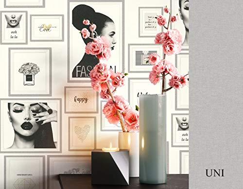 NEWROOM Tapete grafisch metallic Bilderrahmen Parfum Sprüche Vliestapete schwarz Vlies Tapete Dekoration inkl. Tapezier Ratgeber ǀ Grafik