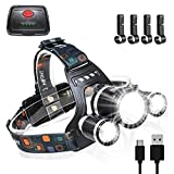 6000 Lumens USB Headlamp Rechargeable LED Head Lamp Work Headlight with 4 Helmet Clips Flashlight Waterproof,4 Modes Adjustable Headlamps for Adults Running Camping Fishing,Battery Included