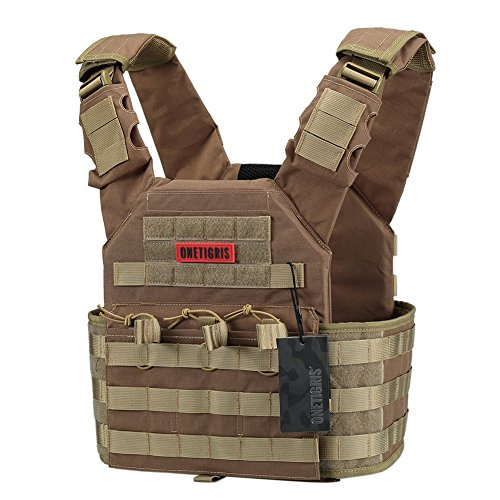 OneTigris PLPC Weste Taktische Carrier Weste Brustschützer für CS (Braun)