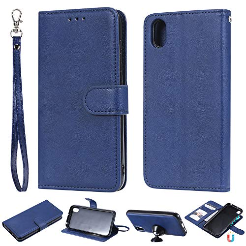 JZ [Detachable 2 in 1 Wallet Funda For para Huawei Y5 2019 / Y5 P Rime 2019 / Honor 8s [Fit Car Mount] PU Leather Flip Cover with Wrist Strap - Blue