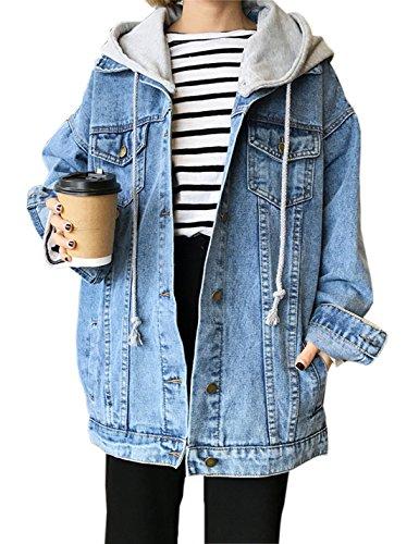Gihuo Women's Oversized Loose Boyfriend Denim Jacket Hooded Jean Jacket (Large, Light Blue)