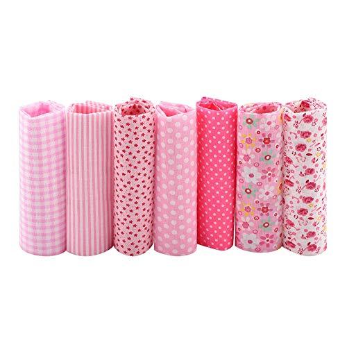 Cotton Craft - Juego de Telas para Confección de Colchas, Costura, Manualidades, 7 Piezas, 24,9 cm, algodón, rosa, 25*25