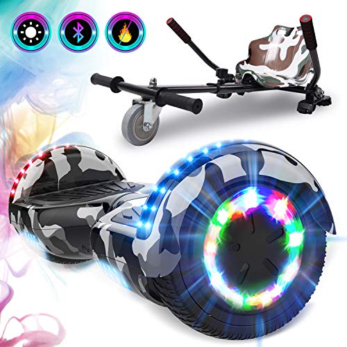 GeekMe Self Balance Scooter with Hoverkart 6.5 Inches LED Lights Bluetooth Speaker Flashing Wheels Gift for kids and adults!