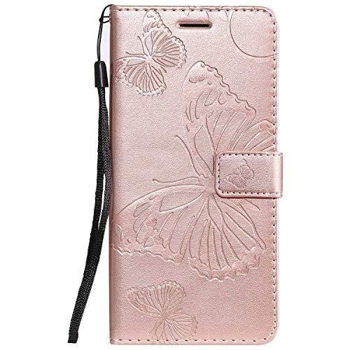 DENDICO - Funda Xiaomi Mi 9 de piel tipo cartera para Xiaomi Mi 9 Funda tipo libro con función de apoyo y tarjetero - Oro rosa
