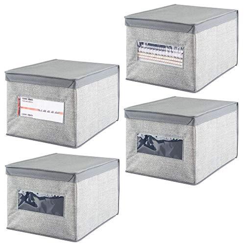 mDesign Juego de 4 Cajas organizadoras apilables – Gran Organizador de armarios con Tapa y Ventana para despacho y Otras Habitaciones – Organizador de Oficina de Fibra sintética – Gris