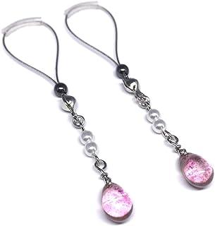 BoDivas Nipple Jewelry Noose Rings Crystal Drop Neon Pink Hematite Adjuster Non Piercing Nipplerings