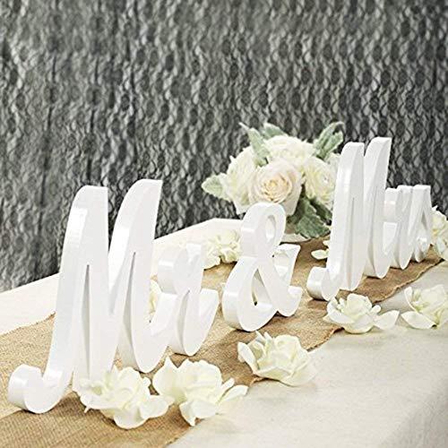 LinTimes MR & MRS Buchstaben Schmücken Hochzeitsdekorationen/Hochzeits Deko Tisch/Standesamt Geschenke Deko - Weiß