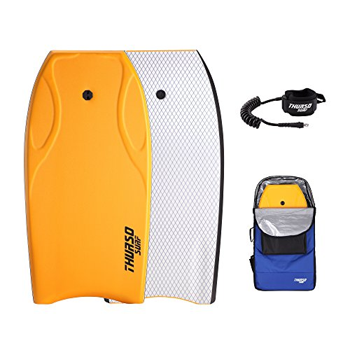 THURSO SURF Lightning 42'' Bodyboard Package PE Core IXPE Deck HDPE Slick Bottom Durable Lightweight Includes Double Stainless Steel Swivels Leash and LUX Bodyboard Bag (Tangerine)