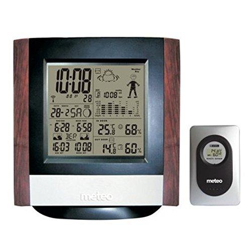 Meteo Estación Meteorológica de Casa con Reloj, Fechador, Termometro, Sensor Externo Inalambrico SP55 para Pared o Escritorio, Madera Parecido
